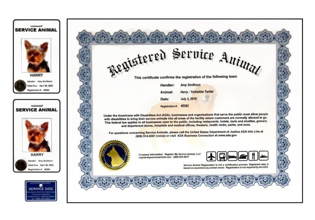 CERTIFICATE SERVICE DOG